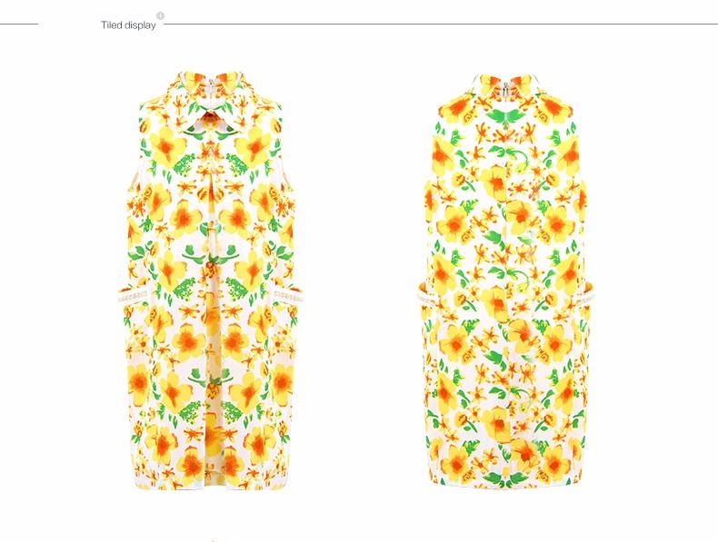 Скидки на 2016 Летних Девочек Хлопок Фрок дизайн Желтое Солнце Цветок Шифоновое Платье Одежда для Девочек-Подростков Age7 8 9 10 11 12 13 14 Т Лет старый