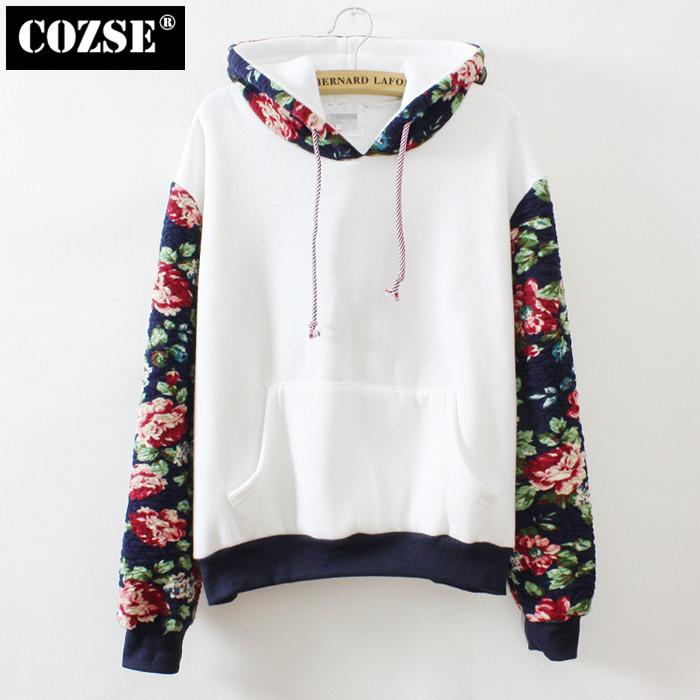 2014 New Women Fashion Coat Winter Pullover Warm Fleece Flowers Sleeve Hoodies Cotton Sweatshirt D3433(China (Mainland))