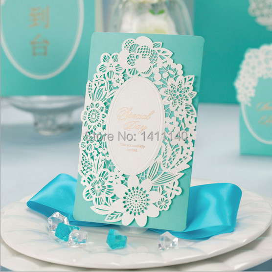 free shipping Mint Green White Laser Cut Wedding Invitation Card Party Invitations with nvelope and Seals 25pcs/lot(China (Mainland))