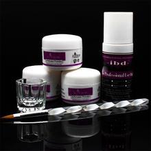Nail Beauty Acrylic Powder 120ml ibd acrylic Liquid Sable pen Brush and Glass Dappen Dish Tips Set(China (Mainland))