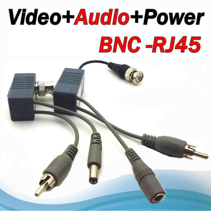 New ! 8pcs/4 Pairs BNC Video Balun Audio Power CCTV Audio Video Balun UTP twisted pair Power Transceiver(China (Mainland))