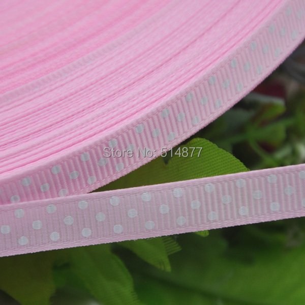 "3/8"" (10 mm) 20y pink Grosgrain Ribbon Print Dots Appliques/Craft/Wedding(China (Mainland))"