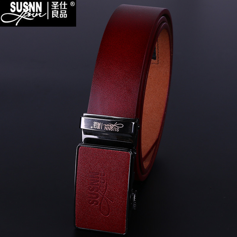 Automatic New genuine Leather L Good Quality business mens belt luxury Designer brand Buckle Male Belts For Men V pants belts(China (Mainland))