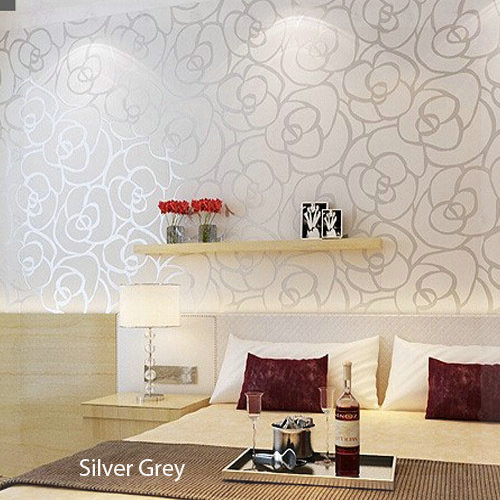 Rose Floral Papel De Parede Pvc Vinyl Embossed Wall Papers For Living Room Home Decor Silver