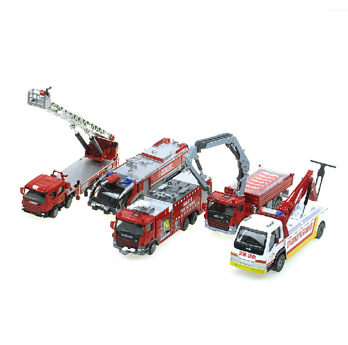 Alloy Diecast Educational set truck model 1:50 water cannons fire rescue truck/crane /trailer vehicle scale collection gift toy(China (Mainland))