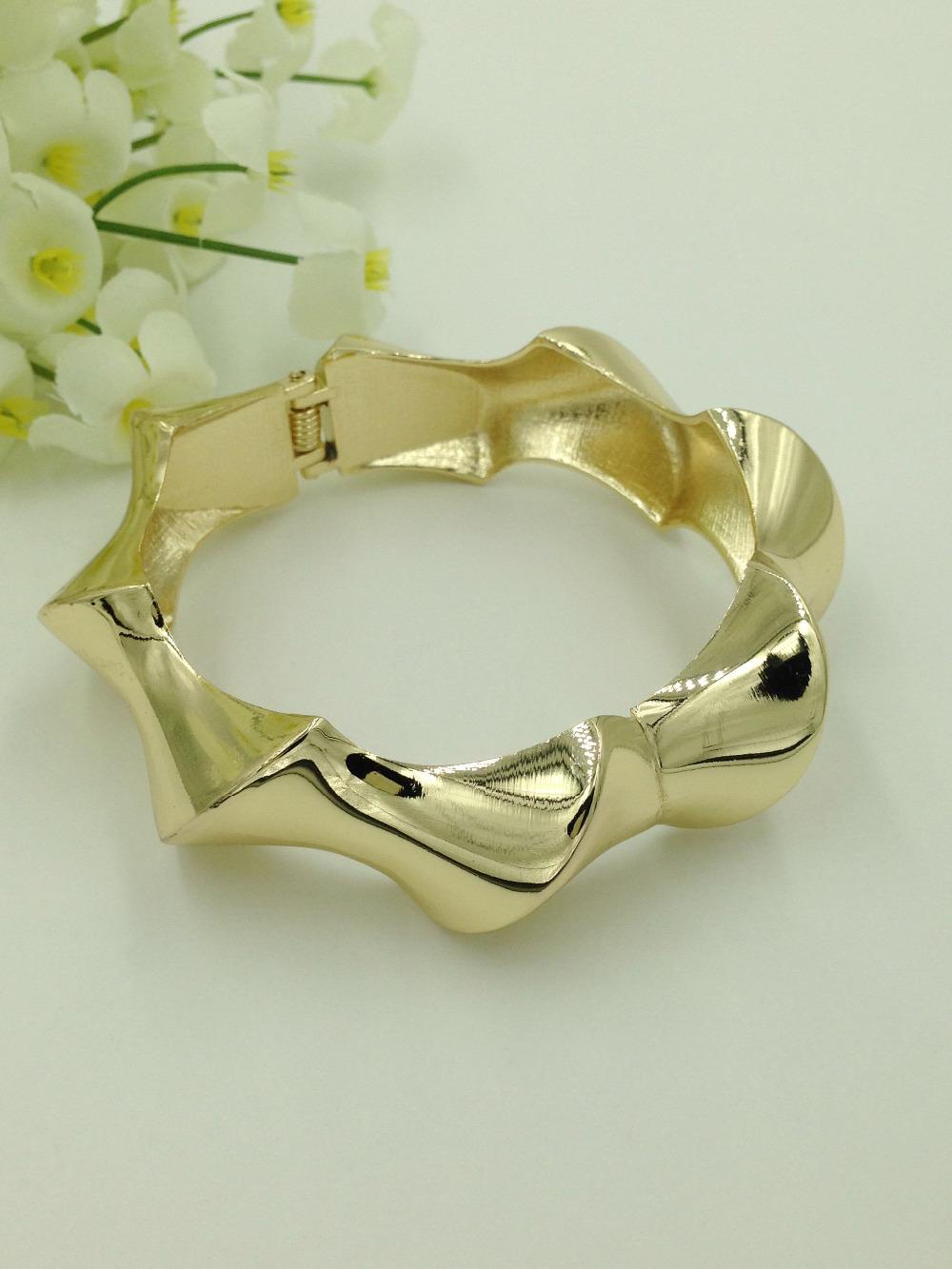 2016 Latest Dubai Gold Filled Bangles Fashion Gold Cuff Bracelet Rock Style Twist Bnagles Folli Jewelry Design(China (Mainland))