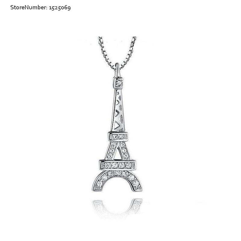New Fashion Eiffel Tower Silver Necklace Souvenirs Jewelry Silver Couple Necklace Free Shipping(China (Mainland))