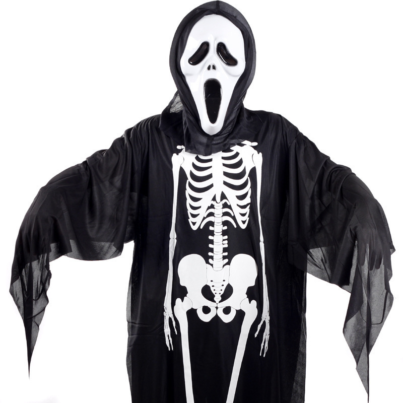 Movie Fashion Clothes Halloween Costume Skeleton Ghost Clothes + Gloves + Skull Devil Mask set Cosplay Cloth size 90cm/120cm for(China (Mainland))