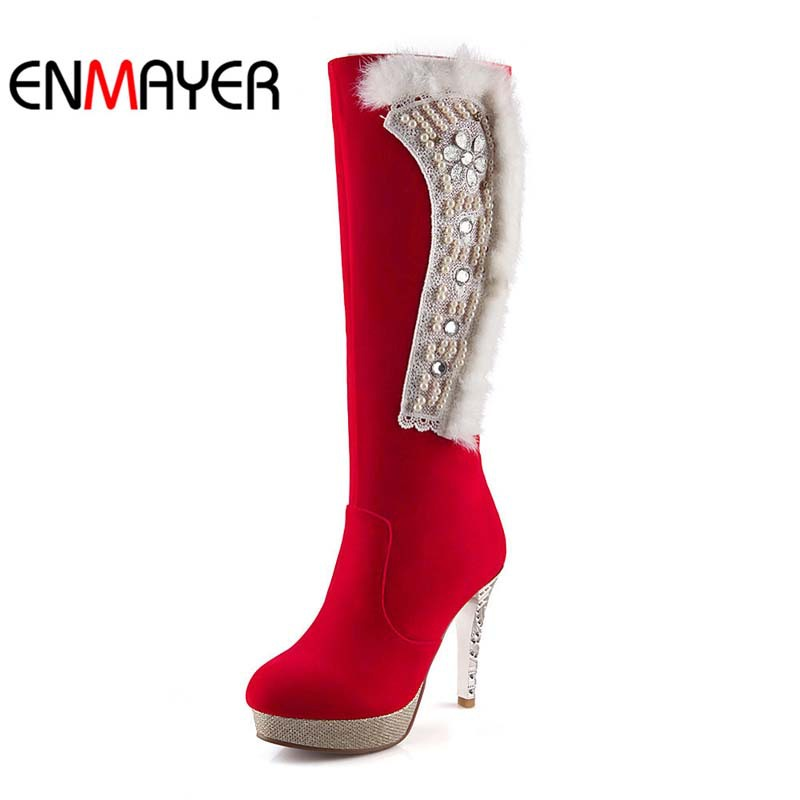ENMAYER Knee-High Boots Women Flock Rhinestone Thin Heels Round Toe High Boots BIG SIZE34-43 Snow boots Winter Wedding Boots <br><br>Aliexpress