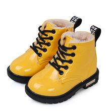 Çocuk Ayakkabıları 2019 Sonbahar PU Deri Su Geçirmez binici çizmeleri Marka Kız Erkek lastik çizmeler Çocuklar Kar Botları Moda Sneakers 68(China)