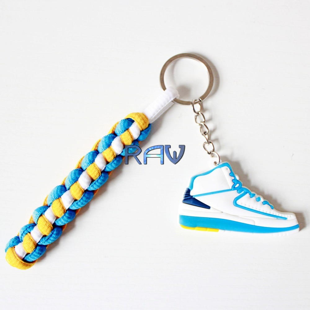 High Quality!!! knitting Keychain Air Jordan 2 Keychains Keyrings Retro Shoes Key Chain Key Ring Shoelaces key holder for car(China (Mainland))