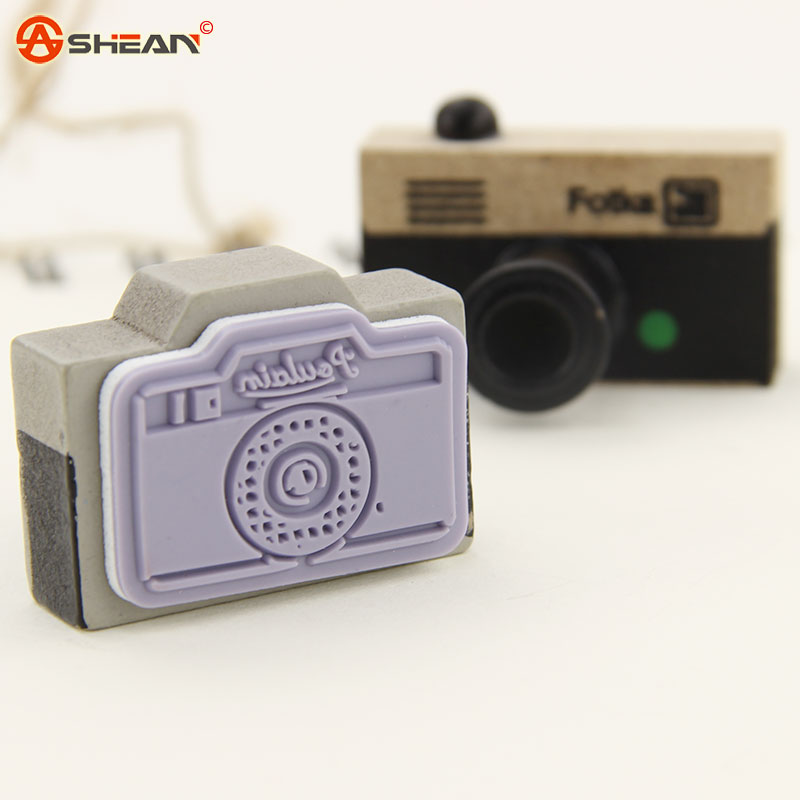 Azerin Lovely 2 Model Korea Wooden Retro Camera Rubber Stamp Seal Gray And Brown DIY 1pcs(China (Mainland))