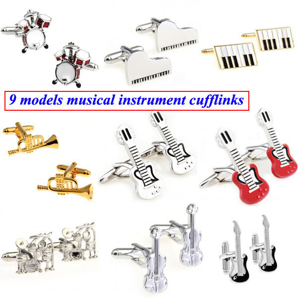 Musical Instrument Drum Piano Guitar Violin Trumpet Cufflink Cuff Link 1 Pair Free Shipping Biggest Promotion(China (Mainland))