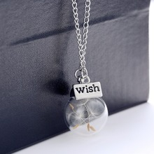 1PC Wish bottle Necklace Real Dandelion Seeds Water Drop Bottle Botanical Pendant Necklace For Women Free Shipping