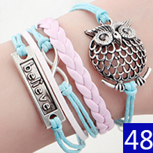 Vintage Braided Anchors braceletes best friends Leather Bracelet men jewelry heart charm Bracelets for women pulseira masculina(China (Mainland))