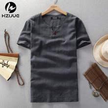 2015 Summer Style Men T shirt Fashion solid color Fitness T shirt linen Short Slim Fit