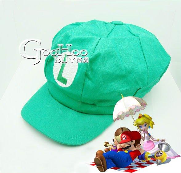 Free Shipping! Wholesale- Cute Cartoon Super Mario cotton fabric green Hat / Cap