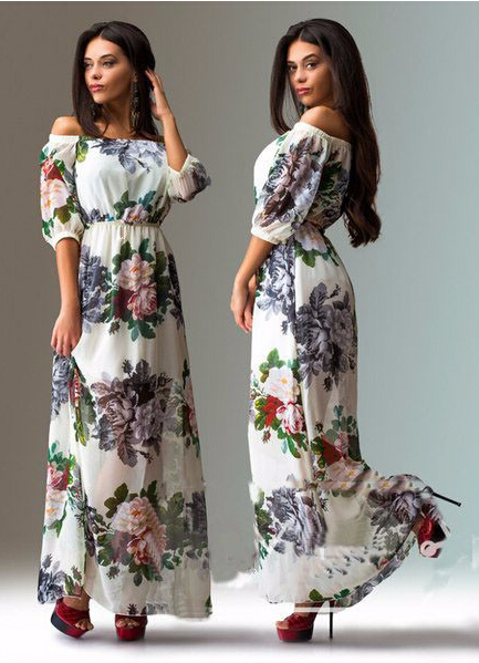 Женское платье Women summer casual maxi dress vestidos 2015 femlae LYE0239 женское платье bohemian i women summer beach dress 2015 o vestidos w0014