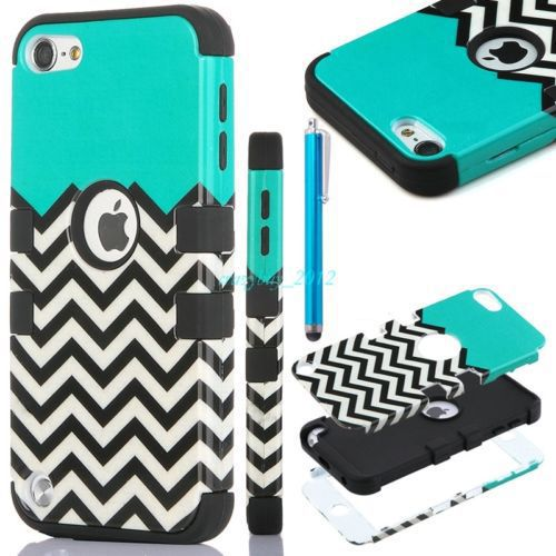 Phone Cases For iPod Touch 5th Hard & Soft Rubber High Impact Armor Case Blue & Black Cover Gen Free Shipping(China (Mainland))