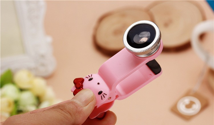 Hello Kitty Fish Eye 3 IN 1 Phone Lens Wide Angle Lens+Macro Lens+Fish Eye Olho De Peixe Universal
