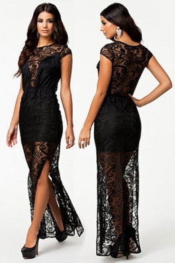 Women Black Lace Maxi Dress Slit Evening D6397 Fringe Sheer Overlay High Waist Pleated Dresses - Doris' Store store