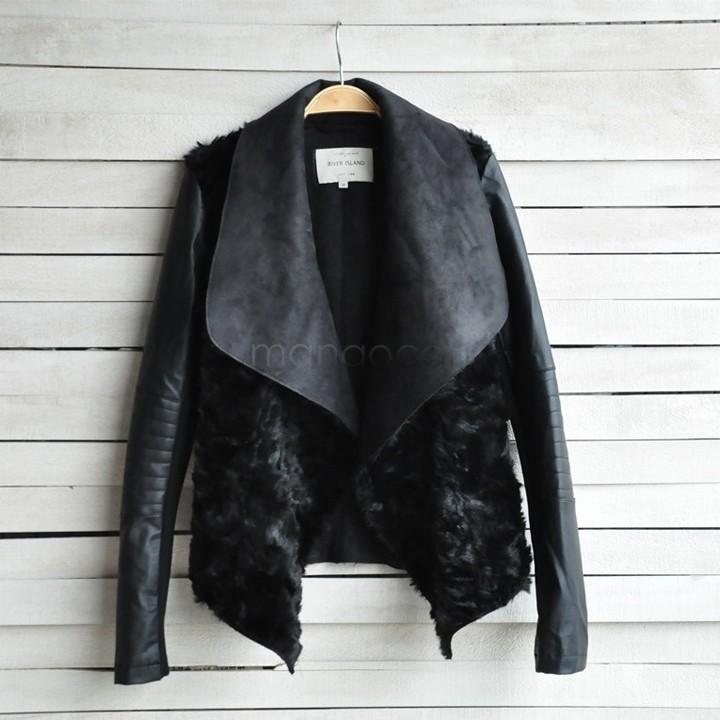 New Fashion Winter European Style PU Leather Jacket Faux Fur Coat Women Slim Short Outerwear Black Drop Shipping B21 CB030886Одежда и ак�е��уары<br><br><br>Aliexpress