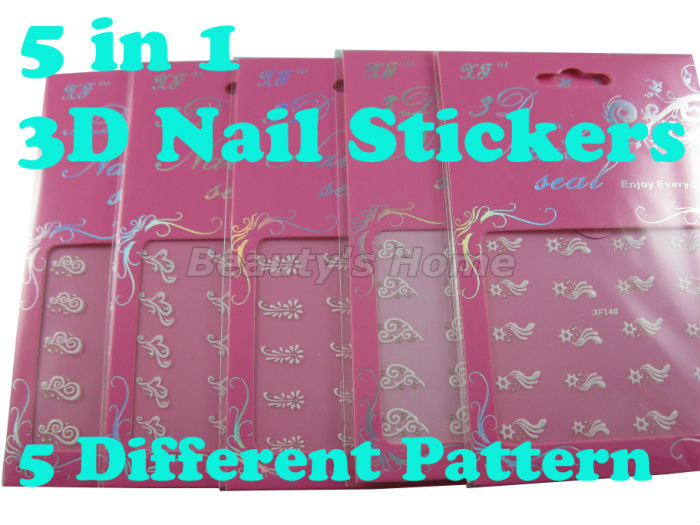 5 in 1 3D nail designs self adhesive Nail Stickers decals Nail Art Decoration 5 different white pattern Free shipping #0881(China (Mainland))