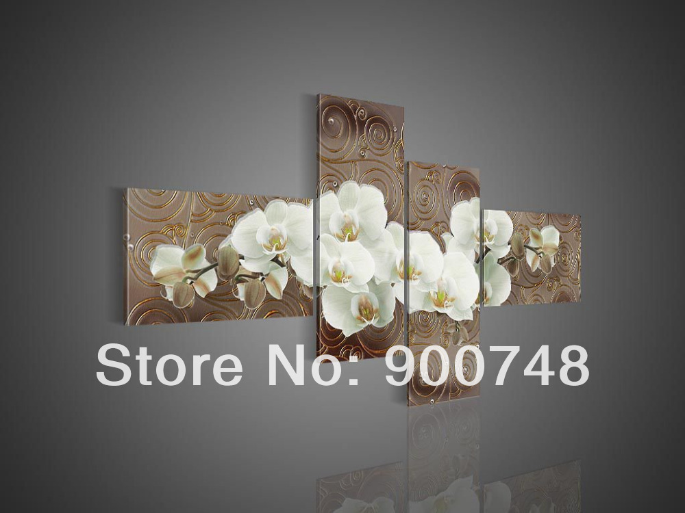 Hand Painted Flower Oil Painting On Canvas Modern Painting Art Lily Home Decoration 4pcs/set Free Shipping(China (Mainland))