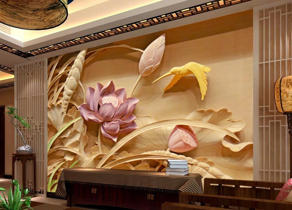 Buy wood carving lotus mural tv backdrop for 3d wallpaper home decoration