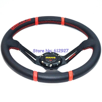 "Free Shipping 14"" PVC Racing Steering Wheel MOMO Drifting Steering Wheel MOMO Steering Wheel PVC Red Stitching"