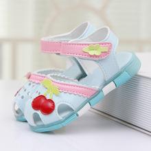 2016 New Lovely Cherry Baby Girls Sandals Summer Walker Shoes Soft Antislip Sole Kids Toddler Toe-cap Children's Sandal CSH121(China (Mainland))