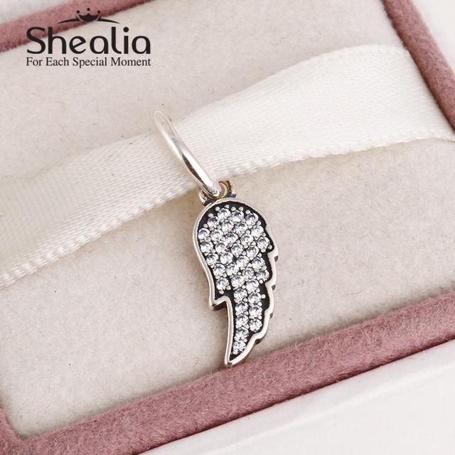 2015 новый стерлингового серебра 925 крыло ангела шармов для женщин проложить ясно циркон подходит известный бренд diy браслеты SH0576