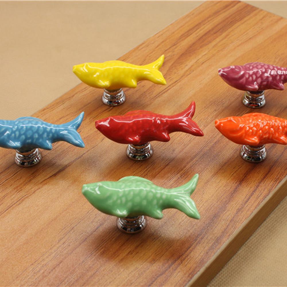 10X Retro Fish Ceramic Door Knob Kid Room Cupboard Cabinet Drawer Pull Handle(China (Mainland))