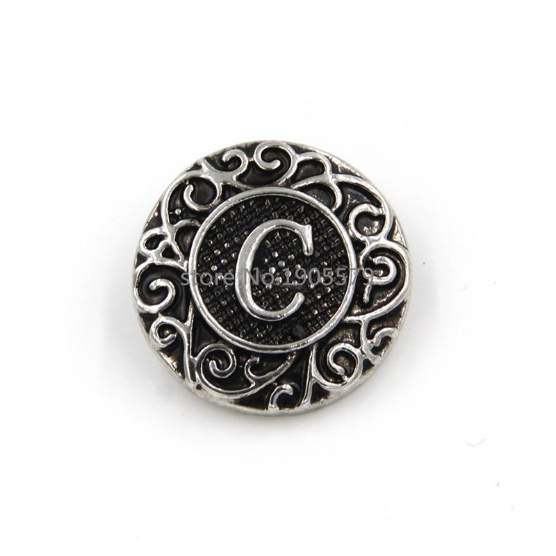6pcs popular jewelry snaps alphabet snap button fits snap