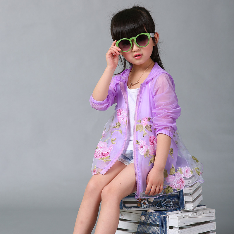 Girls coats sun protection outerwear tops 2015 summer style fashion Kids clothing stores flower mesh pinup girl clothing hooded(China (Mainland))