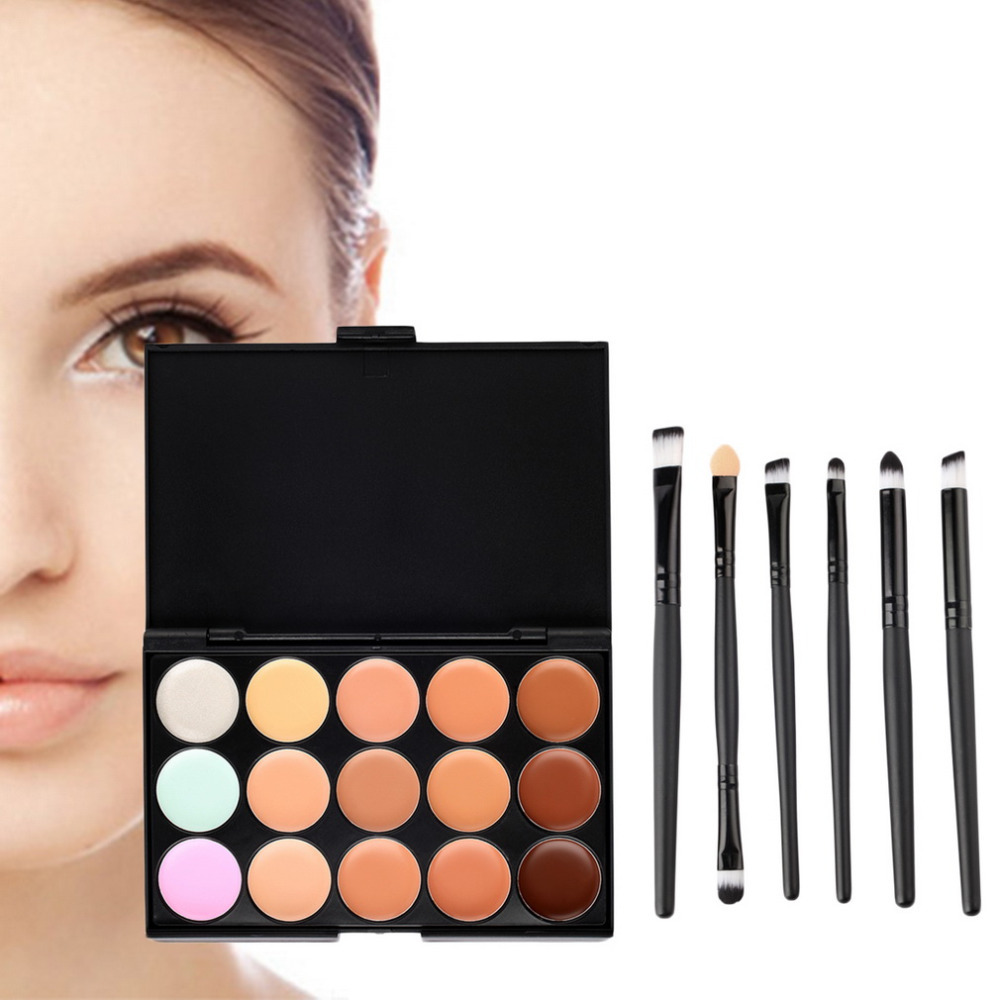 2015 New 15 Colors Contour Face Cream Makeup Concealer Palette with Beauty Makeup Brushes Eyeshadow Eyeliner Smudge Brush(China (Mainland))