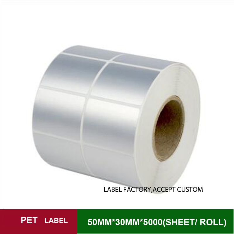 50*30 double row PET paper whole sale lots thermal transfer custom stickers for jewelry, warranty labels with a favourable price(China (Mainland))