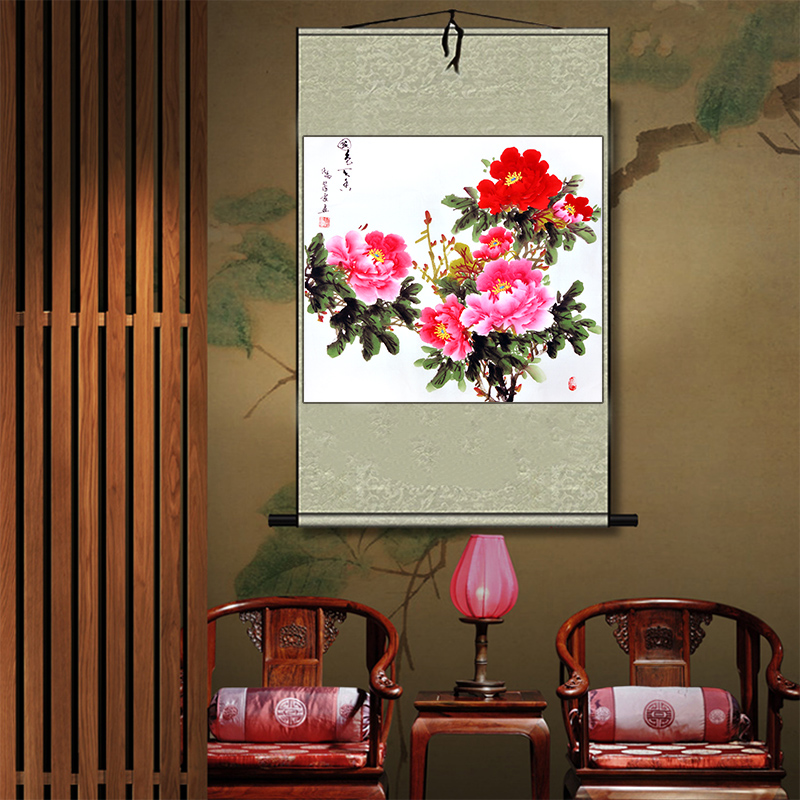 Chinese traditional hand-painted peony flower painting home decoration watercolor fengshui picture wall sticker scroll painting(China (Mainland))