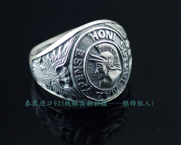 925 pure silver double slider carved armor male thai silver ring<br><br>Aliexpress