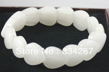 Free shipping  Heart -Shapec Elastic Chinese Natural White Jade  Bracelet(China (Mainland))