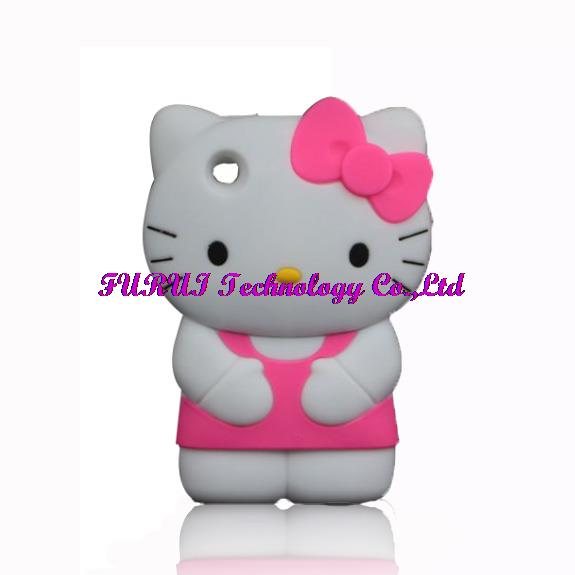 New 3D Cartoon Hello Kitty Bowknot Case For Apple iPhone 3 3G 3GS Soft Silicone Cover(China (Mainland))