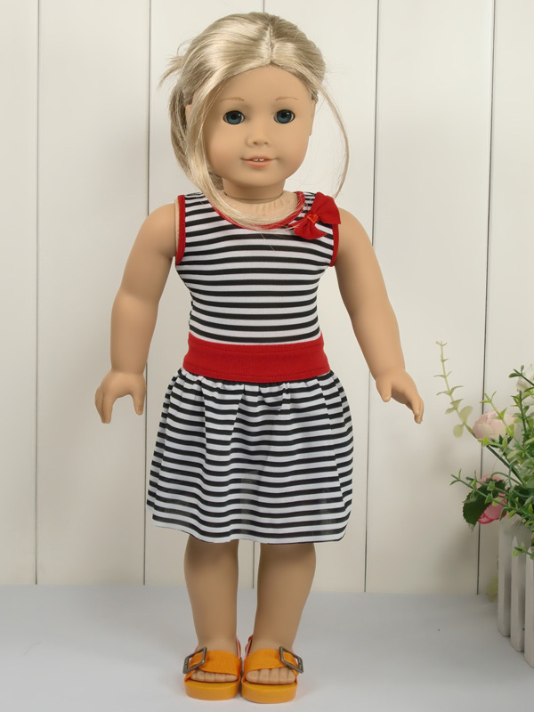 "18""Doll Clothes Outfit Striped Party Dress fit 18'' American Girl A18(China (Mainland))"
