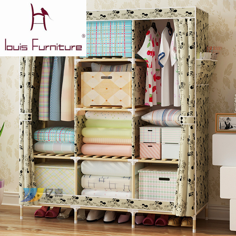 Bedroom furniture garderobe non-woven cloth wardrobe combination folding frame bedroom furniture wardrobe cabinet storage box(China (Mainland))