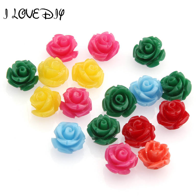 Wholesale 20pcs Manmade Rose Flower Red Coral Beads Charm 10mm Mixed for Jewelry Making(China (Mainland))