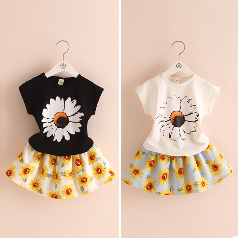 Sunflower children suit 2016 Summer girls wear short skirt Korean version of the new two piece tz-2291(China (Mainland))