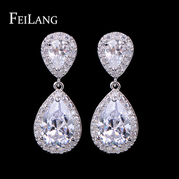 FEILANG Nickle Free Women New Fashion Classic Style Water Drop Rhinestone Crystal Drop Bridal Earrings (FSEP091)