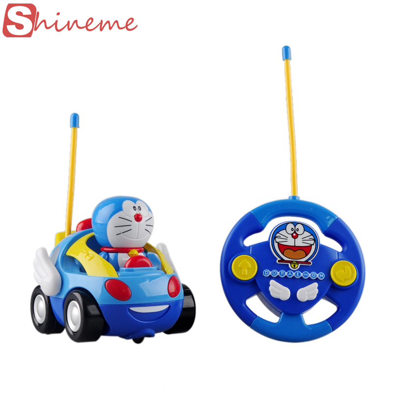 New baby boys girl Doraemon Remote Control Electric toys car kids RC Car High speed Cute cat Cartoon musical light child Car toy(China (Mainland))