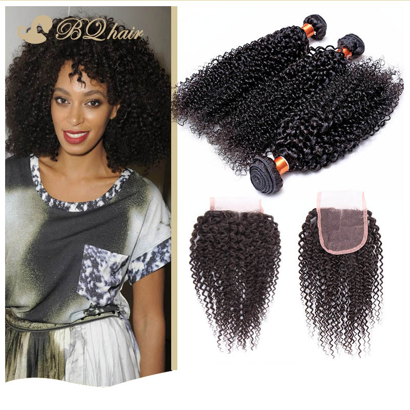 Гаджет  3 Bundles Kinky Curly Hair With Lace Closure Cheap 7A Rosa Unprocessed Brazilian Free Part Closure With Virgin Human Hair Weaves None Волосы и аксессуары