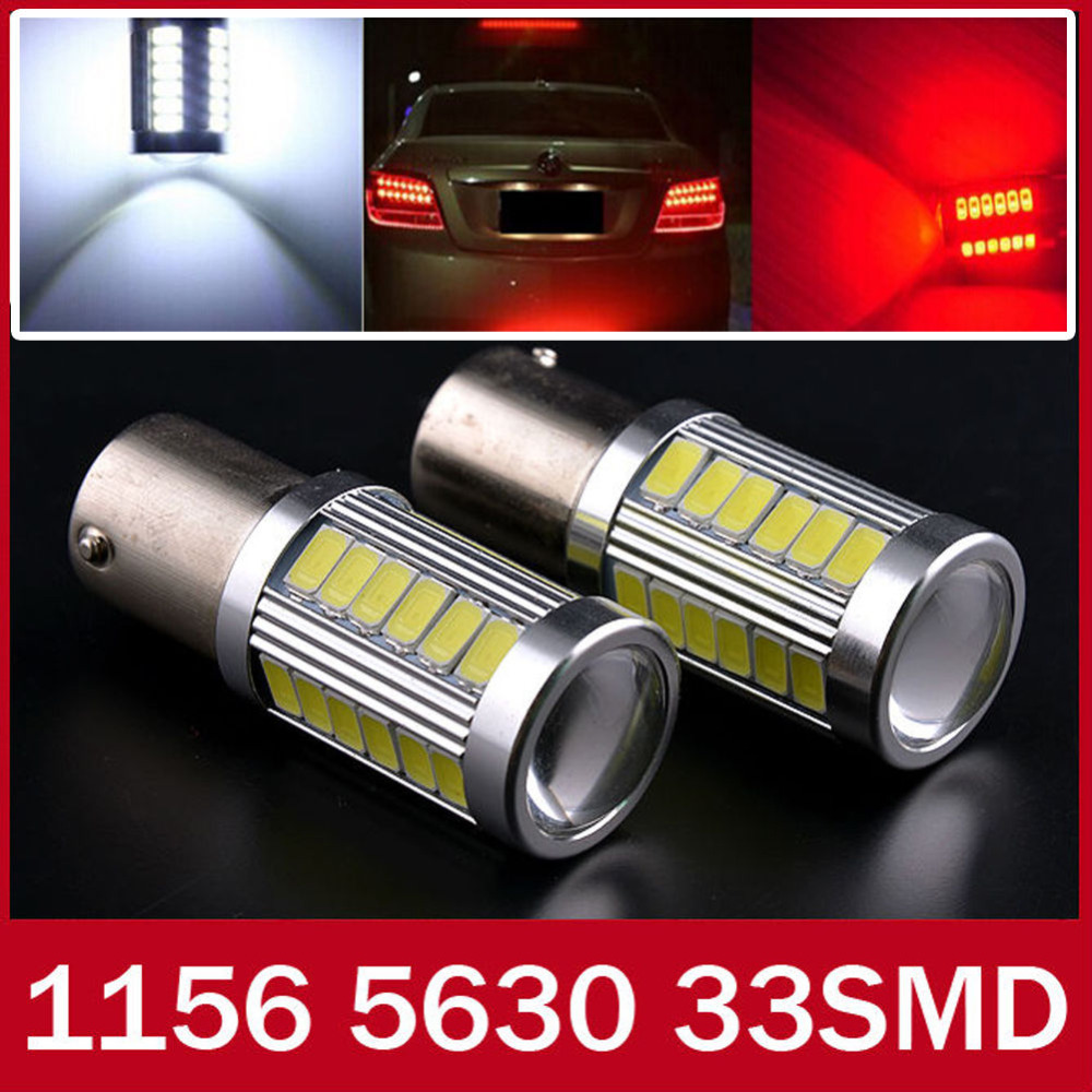 2x White Red Yellow p21w led 33SMD 1156 ba15s 12v 5630 5730 bulb RV Trailer Truck car styling Light parking Auto led Car lamp(China (Mainland))