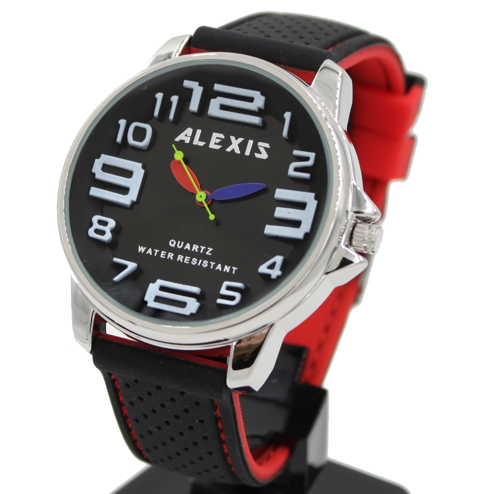 3D Arabic Number Big Dial FW939A Unisex Watchcase Silicone Black Stitch Red Band ALEXIS Brand Cycling Sport Watch Free Gifts Box(China (Mainland))
